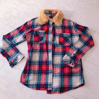しまむら - シャツ ネルソンシャツ 襟元ファー チェックシャツ 赤 青 チェック
