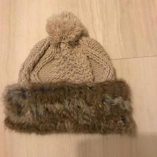 ローズバッド(ROSE BUD)の値下げ 未使用  ローズバッド ファー ニット帽(ニット帽/ビーニー)