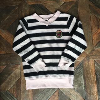 シマムラ(しまむら)の黒と薄ピンクのボーダーニット140cm(ニット)
