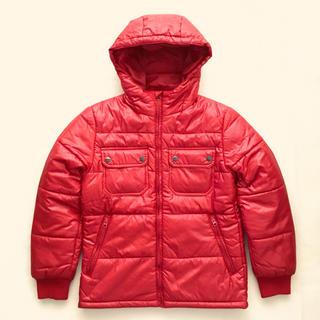 ジーユー(GU)のGU ジーユー 中綿フードジャケット 赤❣️(ダウンジャケット)