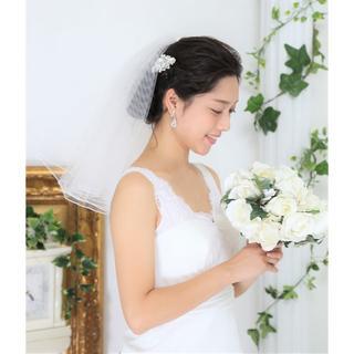 ウエディングベール 2段 コーム付♡高品質♡オフホワイト 日本製(ウェディングドレス)