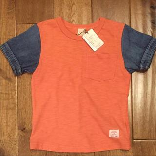 プティマイン(petit main)の新品タグ付♡petit main♡半袖Tシャツ☆袖デニム☆(Tシャツ/カットソー)