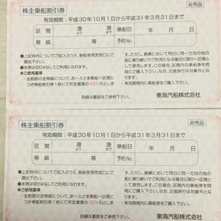 東海汽船  株主優待 株主乗船割引券 2枚(その他)