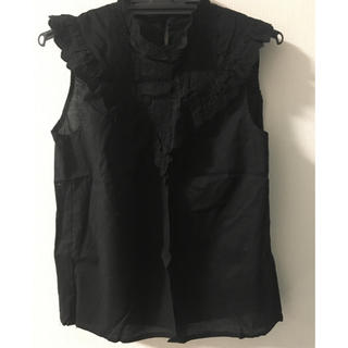 シマムラ(しまむら)の【1度だけ使用】しまむら 黒ノースリーブシャツMサイズ(シャツ/ブラウス(半袖/袖なし))