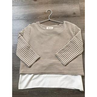 MATERNITY - ミルクティ ボーダーカットソー 授乳服
