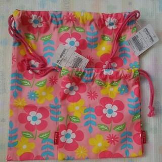 キッズフォーレ(KIDS FORET)の新品【S/M】Kids Foret 巾着 袋 2枚 花柄 キッズフォーレ(ランチボックス巾着)