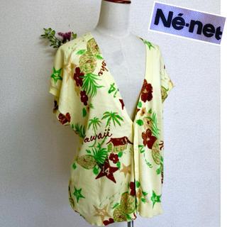 Ne-net - 交渉可‼️Ne-net お袖段違いカーディガン コットン100% 南国フルーツ柄