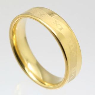 ローマ数字ウエイブステンレスリング ゴールド 15号 新品 (リング(指輪))