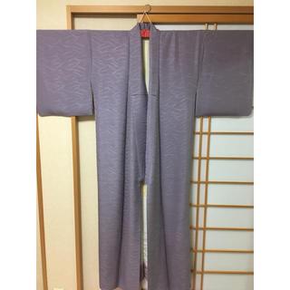 ミツコシ(三越)の高松三越購入 着物 正絹 色無地 紫 紋入り(着物)