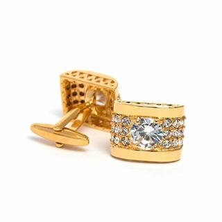 18K純金コーティングキラキラスワロ付きゴールドカフスボタン(カフリンクス)