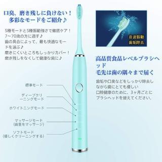 超音波  電動歯ブラシ  替えブラシ2本付き(電動歯ブラシ)