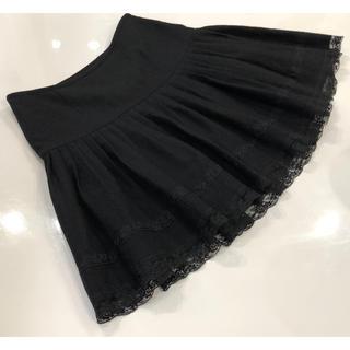 1460d607c14d0 レッセパッセ(LAISSE PASSE)のレッセパッセ 裾レースプリーツスカート 38 黒(ミニスカート