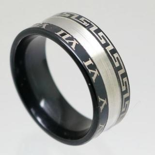 シルバーラインローマ数字ブラックステンレスリング 26号 新品(リング(指輪))