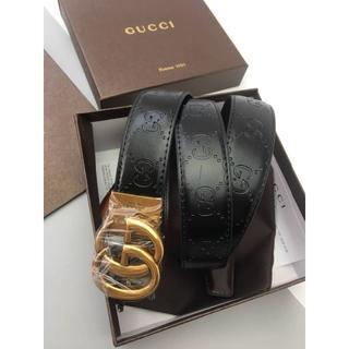 Gucci - GUCCI ダブルGバックル レザーベルト メンズ プレゼント