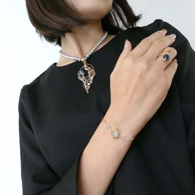 14kgf アクアマリン 天使のブレスレット レディースのアクセサリー(ブレスレット/バングル)の商品写真