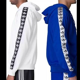 アディダス(adidas)のアディダス パーカー hoodie  adidas ブルー 青 ロゴテープ(パーカー)
