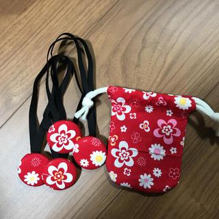 ガウチョ ワイドパンツ 裾どめ 裾ズレ落ち防止バンドと収納用巾着袋 赤色(レッグウェア)