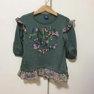 アナスイミニ(ANNA SUI mini)のアナスイミニ  シフォン 花柄フラワーフリルトップス  110リバティ(Tシャツ/カットソー)