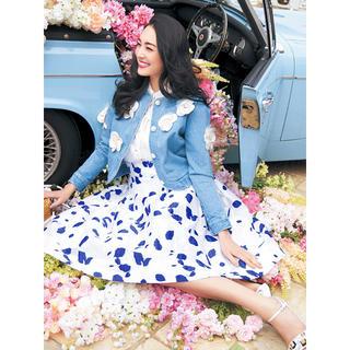 チェスティ(Chesty)のchesty チェスティ Flower Jacquard Skirt ホワイト(ひざ丈スカート)