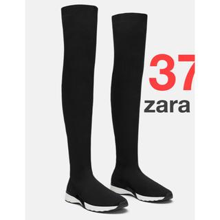 ザラ(ZARA)のzara  ソックス スニーカー ニーハイ ブラック 黒 37 新品 完売(ブーツ)