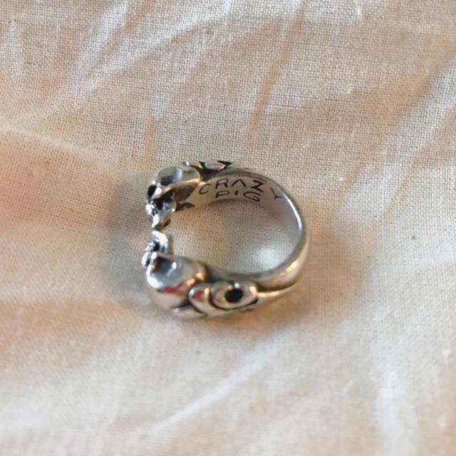 CRAZY PIG(クレイジーピッグ)のCRAZY PIG TWO SKULLS RING クレイジーピッグスカルリング メンズのアクセサリー(リング(指輪))の商品写真