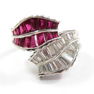 ルビー×ダイヤモンド♪Pt900/プラチナ★デザインリング★指輪★貴金属★(リング(指輪))