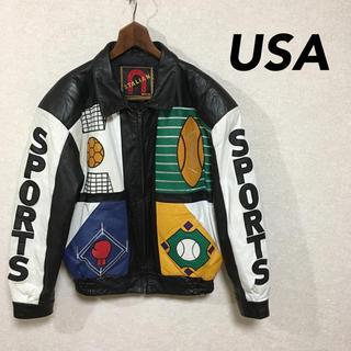 アヴィレックス(AVIREX)のレザージャケット ライダースジャケットメンズ 革 USA製 本革 スポーツ(レザージャケット)