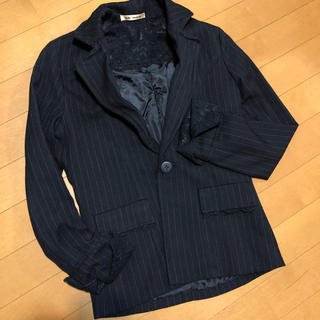ザラ(ZARA)の新品 ジャケット スーツ ピンストライプ Sサイズ 7号 黒 卒業卒園 (スーツ)