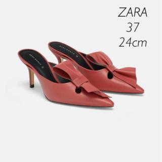 ザラ(ZARA)の【新品・未使用】ZARA リボン付き ミュール 37(ミュール)