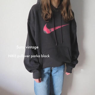 ナイキ(NIKE)の90s NIKE プルオーバー パーカー スウェット USA製 黒 古着(パーカー)