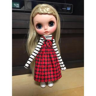 真赤なドットのジャンパースカートセット①(人形)