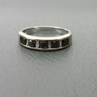 K18WG天然石ブラックダイヤモンド0.70ctリング(リング(指輪))