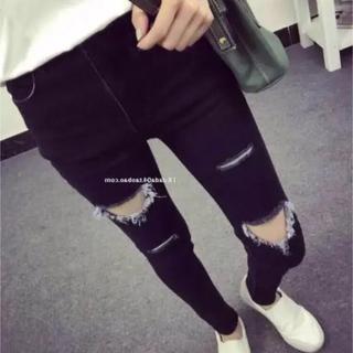 韓国ファッション : ダメージスキニーパンツ ブラック