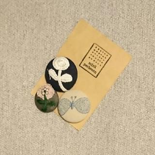 Hand made ミナペルホネン くるみボタン ヘアゴム