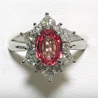 プラチナ製 大粒 パパラチア ダイヤ リング(リング(指輪))
