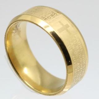 聖書ステンレスリング ゴールド 14号 新品 クリックポスト送料無料(リング(指輪))