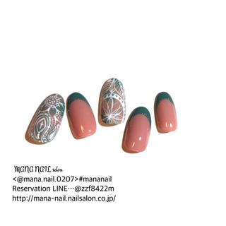 (63)新作 ネイルチップ グリーン ピンク エスニック チップオーダー(つけ爪/ネイルチップ)