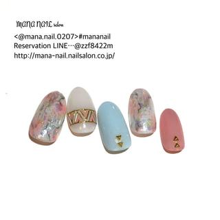 (64)新作 ネイルチップ ピンク ブルー 天然石 ネイルチップオーダー(つけ爪/ネイルチップ)