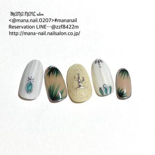 (66)新作 ネイルチップ ターコイズ ナチュラル サボテン チップオーダー(つけ爪/ネイルチップ)