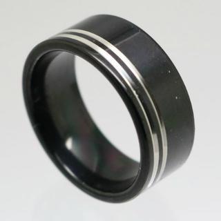 ダブルシルバーラインブラックステンレスリング 14号 新品(リング(指輪))