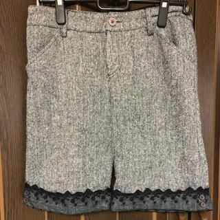 裾レース、膝丈パンツ、半ズボン、グレイ(ハーフパンツ)