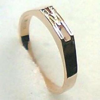イニシャルリング【ピンクゴールド M】シルバー925 リング 9号(リング(指輪))