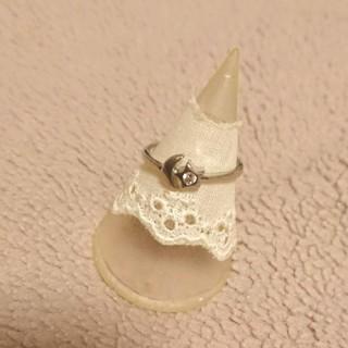 10号月と星モチーフラインストーン付きシルバー色リング新品未使用(リング(指輪))