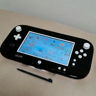 ウィーユー(Wii U)の任天堂 wiiu ゲームパッド黒 白ボタン交換 正常動作確認済 タッチペン付(家庭用ゲーム本体)