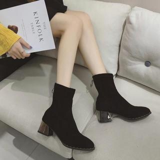 【大人気】韓国ファッション レディース ヒールブーツ トレンド シルバーブラック(ハイヒール/パンプス)