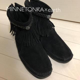 ミネトンカ(Minnetonka)のMINNETONKA×earth  ミネトンカブーツ 24cm ブラック(ブーツ)