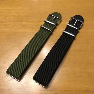 NATOベルト ブラック カーキ(腕時計(アナログ))