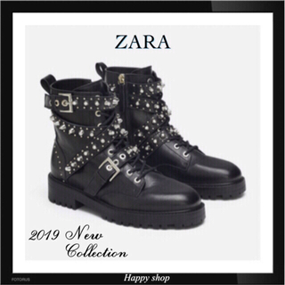 ザラ(ZARA)の限定1点【希少 新品 完売】エッジの効いた格好良さ★スタッズ ブーツ♪履き映え♡(ブーツ)