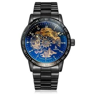 ■腕時計 スケルトン ブラックバンド 自動巻き メンズ(腕時計(アナログ))