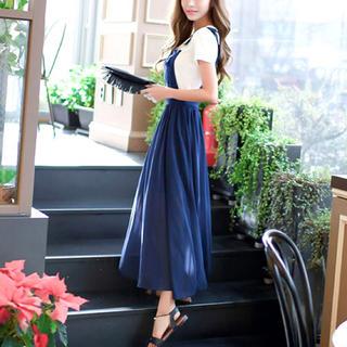 【新品】柔らかフェミニン サロペット スカート Tシャツ XL レディース(ロングワンピース/マキシワンピース)